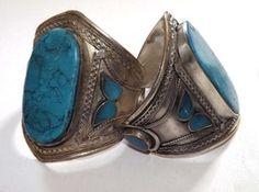 Large Stone New Tribal Warrior Cuff Bracelet - Turquoise on Birgiss Bellywear £16