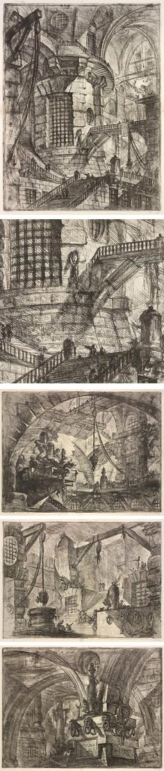 Piranesi's Prisons: Architecture of Mystery and Imagination, Giovanni Battista Piranesi {study in line drawings}