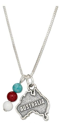 """STERLING SILVER 18"""" AUSTRALIA MAP PENDANT NECKLACE WITH BLUE RED AND WHITE BEADS"""