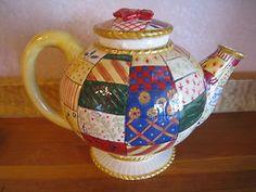 Studio Nova China Tea Pot Old World Santa Christmas Patchwork Holiday | eBay