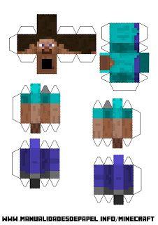 Bloque de Steve Minecraft Templates, Minecraft Blocks, Minecraft Mobs, Minecraft Crafts, Minecraft Designs, Minecraft Party, Minecraft Skins, Paper Toys, Paper Crafts