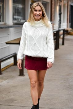 Snuggle Up Cable Knit Sweater- White