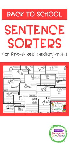 Sentence Sorters for Pre-K and Kindergarten. This Back to School pack contains 20 sentence sorters/scrambled sentences with the back-to-school and early fall theme. This pack for kindergarten students is fantastic for small group work, morning work, homework, classwork, and more! It provides a fun way to strengthen those beginning sentence skills. A great addition to your Pre-K or Kindergarten lesson plans! School Pack, New School Year, Kindergarten Lesson Plans, Kindergarten Literacy, Beginning Of School, Going Back To School, Literacy Skills, Literacy Activities, Punctuation Activities