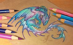 Water pearl dragon by AlviaAlcedo on DeviantArt Sketches, Art Drawings, Drawings, Fantasy Art, Beautiful Drawings, Art, Dragon Art, Color Pencil Art, Dragon Drawing