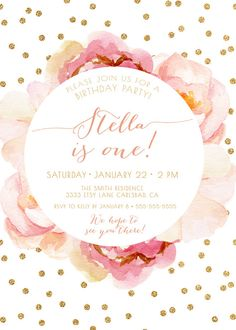 Pink and gold first birthday invitation flower birthday floral girl birthday invitation pink and gold boho by kreynadesigns filmwisefo Gallery