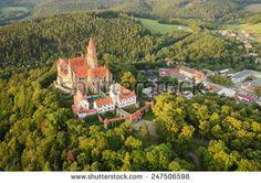 Aerial view of the gothic castle Bouzov, Czech Republic - stock photo