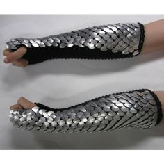 Dragon Scale Armor Gauntlets Knitted Scale Maille Elbow Length Custom... ($130) ❤ liked on Polyvore featuring accessories, gloves, armor, weapons, jewelry, palm gloves, knuckle gloves, black gloves and wet look gloves
