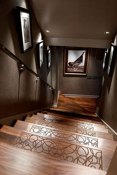 Keep socks from slipping with textured etchings on each stair. I can't even … Keep socks from slipping with textured etchings on each stair. I can't even describe how awesome this is! Maybe a Celtic knot design? Modern Basement, Basement Stairs, House Stairs, Basement Ideas, Basement Flooring, Basement Designs, Basement Bathroom, Dark Basement, Basement Wall Colors