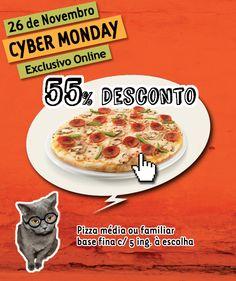 Hoje é dia de Mega Desconto Online na Telepizza!   Aproveita o nosso Cyber Monday e pede uma Pizza média ou familiar com base fina e 5 ou mais ingredientes com 55% Desconto!