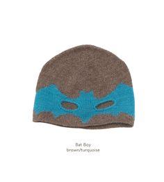 Bat boy hat brown - turqoise