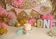 www.katherinechambers.com, Cleveland Photographer, Katherine Chambers Photography, pink and gold cake smash