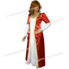 Дамската рокля на Кралица 05 червено е изработена от сатен /100% ПЕ/. Роклятя е в два цвята, червено и бяло, ръкава е с набор в горната част, за да създаде обем на ръкава и украсен със златиста шевица. Долния край на ръкава е от ликра и и има заострен край, който минава върху китката.