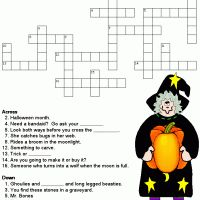 Halloween Crossword Puzzle Printable Activity