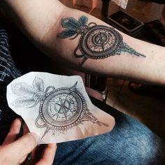 http://tattooideas247.com/compass/ Compass Forearm Tattoo #ARM, #Compass, #Feathers, #Forearm