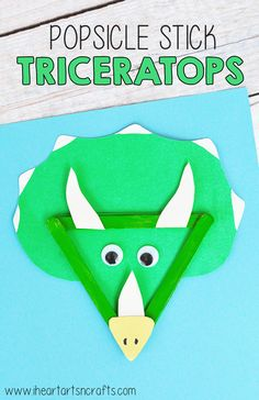 We're so excited for the premiere of #DinoDana on Amazon Video today, so we are sharing some dinosaur themed crafts this week! #ad Head on over to the blog to check out our Popsicle Stick Triceratops craft #ad