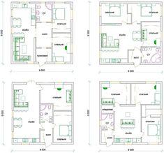 Варианты планировки одноэтажного дома 9 на 9 м