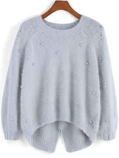 Grey Round Neck Bead Dip Hem Sweater, Fast Shipping