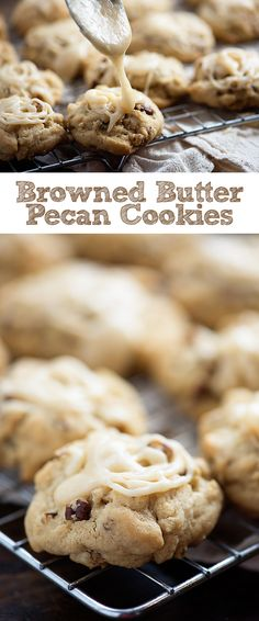 Browned Butter Pecan Cookies – the glaze on these cookies is amazing! Browned Butter Pecan Cookies – the glaze on these cookies is amazing! Pecan Sandie Cookie Recipe, Butter Pecan Cookies, Yummy Cookies, Chocolate Cookies, Chocolate Tarts, Cookie Desserts, Cookie Recipes, Dessert Recipes, Pecan Recipes