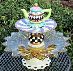 Garden Totem / Centerpiece / Bird Feeder / by GardenWhimsiesByMary, $45.00
