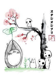 studio ghibli kodama totoro miyazaki hayao japan art japanese style kanji sumie mononoke spirited away tree forest spirits anime manga Miyazaki Tattoo, Studio Ghibli Tattoo, Studio Ghibli Art, Kodama Tattoo, Personajes Studio Ghibli, Forest Tattoos, Princess Tattoo, Girls Anime, Ghibli Movies