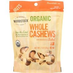 Woodstock Nuts - Organic - Cashews - Whole - Large - Dry Roasted - Unsalted - Raw - 7 oz - case of 8 Protein Packed Snacks, Nutritious Snacks, Roasted Cashews, Raw Cashews, Organic Nuts, Eating Organic, Nut Butter, Dairy Free, Gluten Free