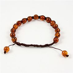Cognac Colored Amber Macrame Bracelet