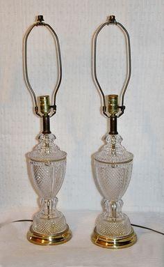 Vintage Pair, Lead Crystal, Brass Lamp, Tritschler Winterhalder  Bleikristall 24% Lead Crystal