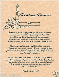 Healing Flames Spell Book of Shadows Page BOS Pages Witchcraft Parchment