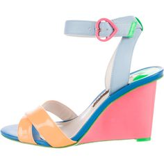 Pre-owned Sophia Webster Amanda Colorblock Sandals ($125) ❤ liked on Polyvore featuring shoes, sandals, orange, ankle wrap wedge sandals, orange wedge sandals, ankle wrap sandals, patent leather wedge sandals and ankle strap wedge sandals