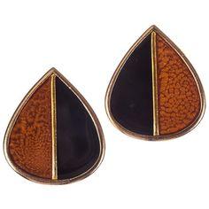 Pre-owned Yves Saint Laurent Black & Orange Enamel Earrings ($272) ❤ liked on Polyvore featuring jewelry, earrings, 18 karat gold earrings, 80s fashion, pre owned jewelry, black enamel earrings and yves saint laurent earrings