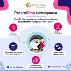 """""""Develop your best #eCommerce website using Prestashop with Tecksky"""" It is a professional, powerful, and energetic eCommerce solution for your business, greatly flourishing well in the worldwide market. Our #PrestaShopdevelopment expert can be relied upon for giving you a competitive advantage through quickly loadable and user-friendly online stores. #prestashopdevelopmentservices #prestashopecommercedevelopment #teckskytechnologies #websitedevelopment #webdevelopment #webdevelopmentcompany Ecommerce Solutions, Web Development Company, Mobile App, Technology, Marketing, Website, Business, Tech, Mobile Applications"""