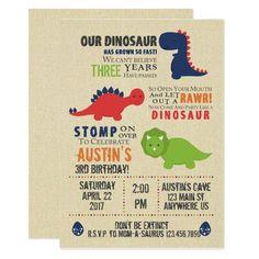 Dinosaur Birthday Invitations Dinosaur Birthday Invitations, Dinosaur Birthday Party, 3rd Birthday, Birthday Ideas, Birthday Parties, Kid Parties, Happy Birthday, Picture Invitations, Invitations Kids