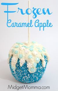 Frozen Themed Caramel Apple. Amazing caramel flavor decorated with the awesome Frozen movie theme. Kids will love these Frozen Themed Caramel Apples
