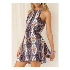 SheIn(sheinside) White Spaghetti Strap Halterneck Tribal Print Dress (€13) ❤ liked on Polyvore featuring dresses, multicolor, short summer dresses, short sleeve dress, sleeveless shift dress, vintage pink dress and vintage halter dress