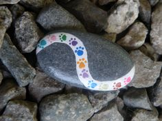PAWS: Hand painted rock. by DottyRoxAndMore on Etsy