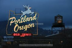 Portland, Oregon Sign (formerly Made in Oregon), Dusk