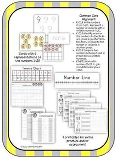 Math Coach's Corner: Common Core, Twenty Apples--Recognizing, Writing, and Comparing Numbers to 20. Students explore multiple representations for the numbers 1 through 20. •	 Descriptions of seven different uses for the cards and numerous variations of the activities •	 Cards with four different representations for the numbers 1 to 20: numeral, word form, pictorial (with objects grouped for subitizing), ten-frame and double ten-frame •	 7 printables  •	 Twenty chart and number line  $