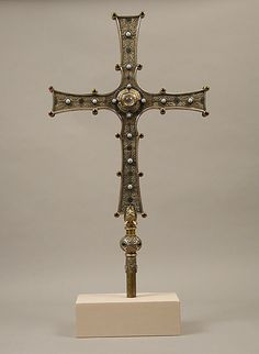 Cross of Cong  Date: early 20th century (original dated 11th century) Culture: Irish Medium: Copper, gold, enamel, glass, silver on oak