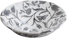 Botanical Study Design On Conical Bell Vessel Bathroom Sink