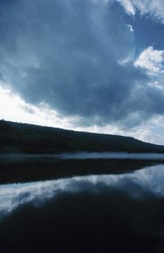 Stormy weather over a lake in Abitibi Temiscamingue, Canada
