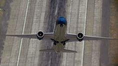 Boeing Dreamliner near vertical takeoff.