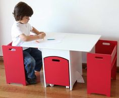 Work Kids Table and Chairs With Color Pencils