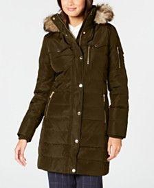 fad05f01b12 Michael Michael Kors Faux-Fur-Trim Puffer Coat - Brown S