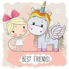 Cute Cartoon Girl and Unicorn on a pink background Cartoon Drawing Tutorial, Cartoon Girl Drawing, Cartoon Drawings, Unicorn Art, Cute Unicorn, Rosas Vector, Cartoon Mignon, Kids Cartoon Characters, Unicorn Pictures