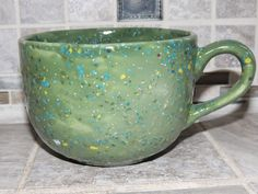 Coffee Mug. Large cappuccino Mug. Green with multi colored speckles. Food and dishwasher safe. Great Mothers day gift. by GabiLuBoutique on Etsy