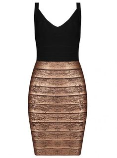 Black And Gold Sexy Bandage Dress H138 @Anabel Danh @Dress like a Queen @VC ZYQ