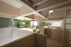 """House in Hanekita by Katsutoshi Sasaki / """"It is planned to be a pillar-less space without view obstructions,"""" said the architect. """"Spandrel walls serve as loose barriers, enabling one same space to have a public and private structure at the same time, according to posture."""""""