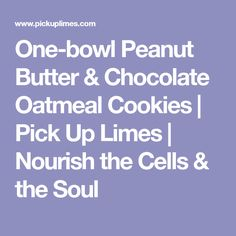 One-bowl Peanut Butter & Chocolate Oatmeal Cookies | Pick Up Limes | Nourish the Cells & the Soul