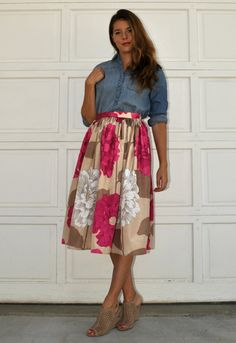 Beige and Pink Silk Look Floral Print Gathered Midi by TashaDelrae, $65.00