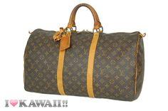 Authentic Louis Vuitton Monogram Keepall 50 Bag Boston Duffle Free Shipping!